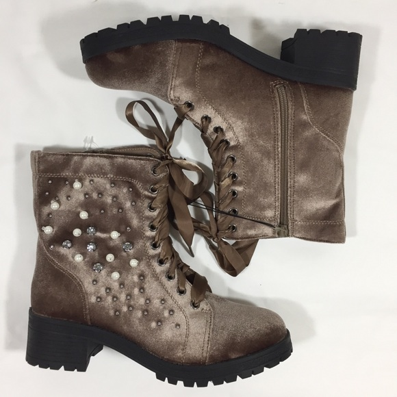 MADDEN GIRL Brown Velvet Pearl Bling Combat Boots 213a42eb2a